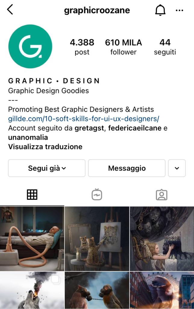 profili creativi Instagram graphicroozane
